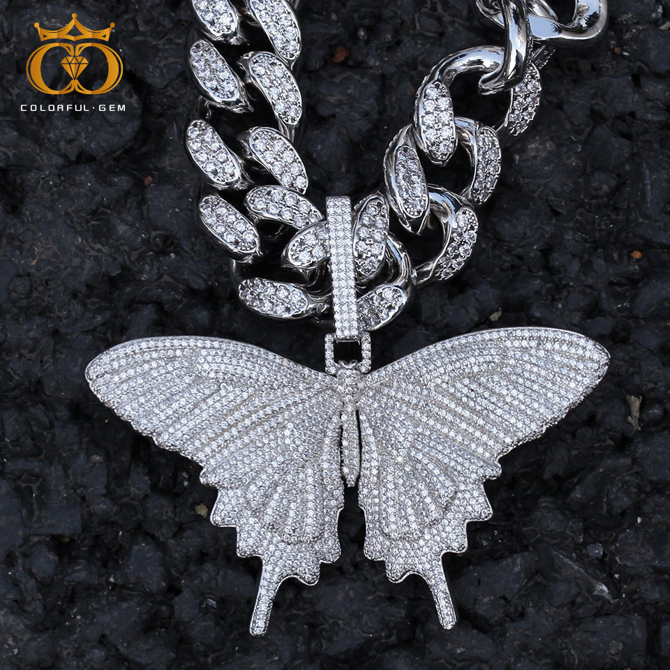 colorful.gem Butterfly Pendant Micro Paved AAA Cubic Zircon With 20mm CZ Cuban Chain Necklace Men HipHop Jewelry For Gift