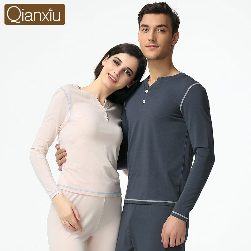 New Lovers tracksuit large size thermal underwear solid color cotton round neck long-sleeved pajamas for couple sleepwear1605