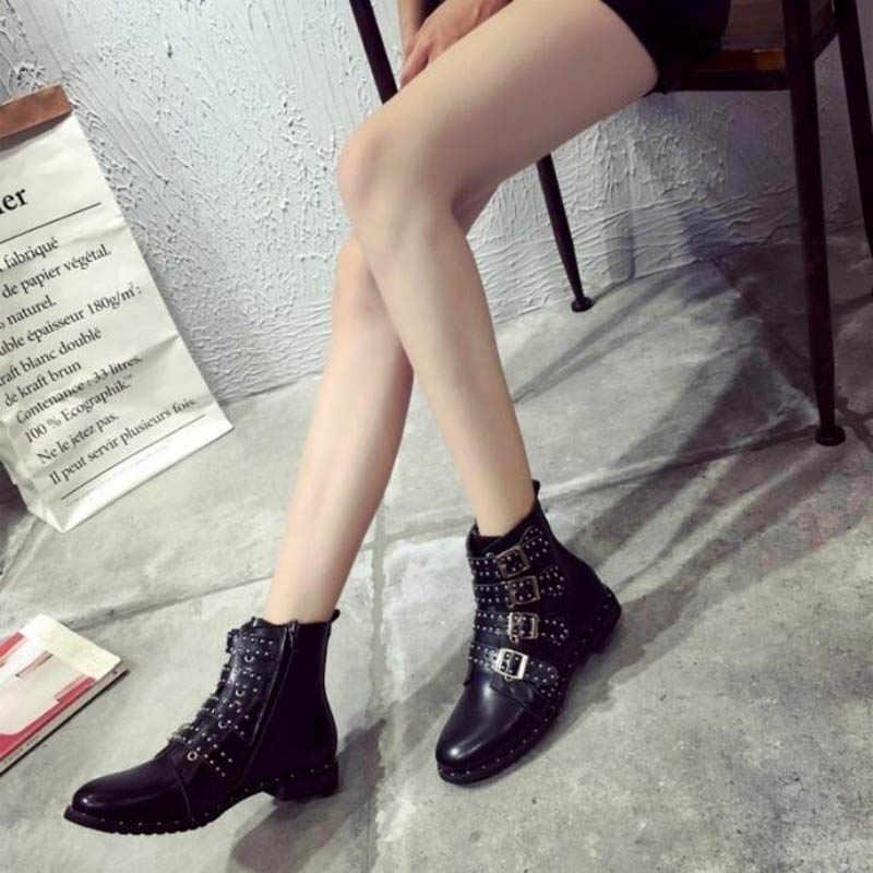 DAFENP Kış Çivili Ayak Bileği çizmeler kadın ayakkabıları kadın Deri Yüksek Top Düz Martin Çizmeler Binme Botları botas mujer bota feminina