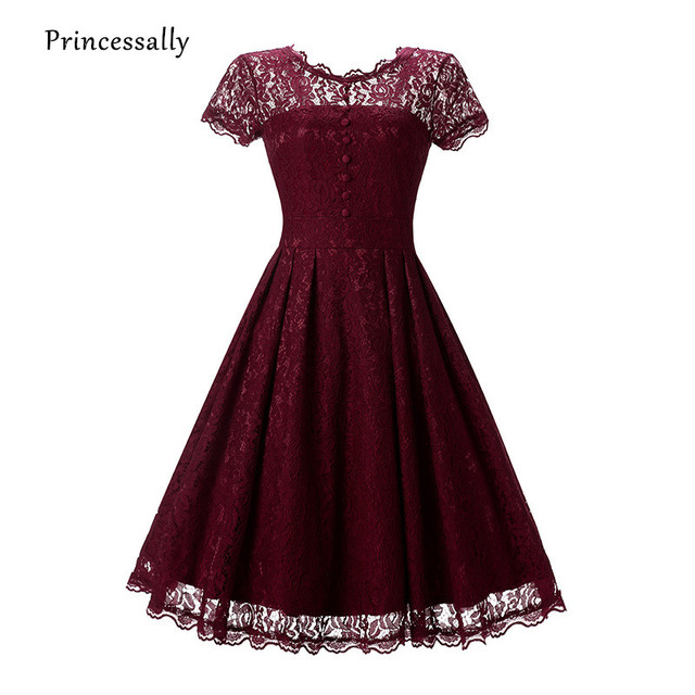 Robe De Soriee New Burgundy Lace Bridesmaid Dress Short Sleeve Scoop Sheer Neck Navy Black