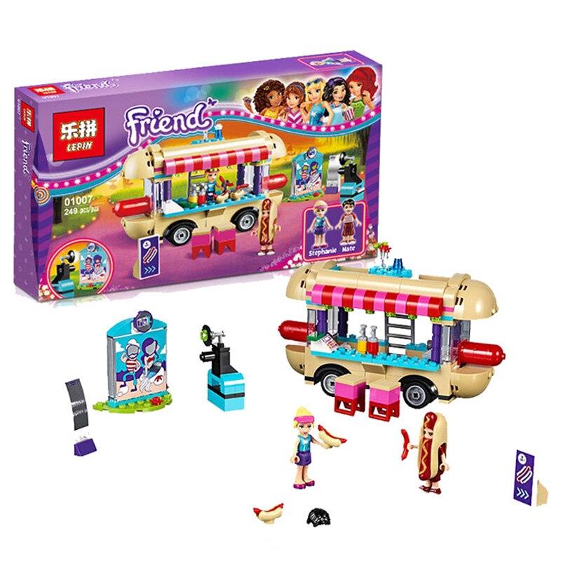 Lepin 01007 Girl Friend <font><b>Amusement</b></font> <font><b>Park</b></font> <font><b>Hot</b></font> <font><b>Dog</b></font> <font><b>Van</b></font> Building Blocks Set Kids Bricks Gift Toys Compatible Legoed Friends 41129