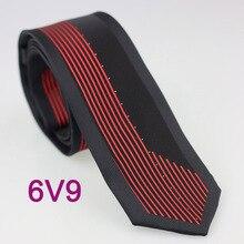 YIBEI Coachella галстуки тонкие по краю; Цвет Черный; с серебряными маленькие точки красные вертикальные полосы Тонкий галстук Для мужчин 6 см шеи галстук-бабочка из микрофибры