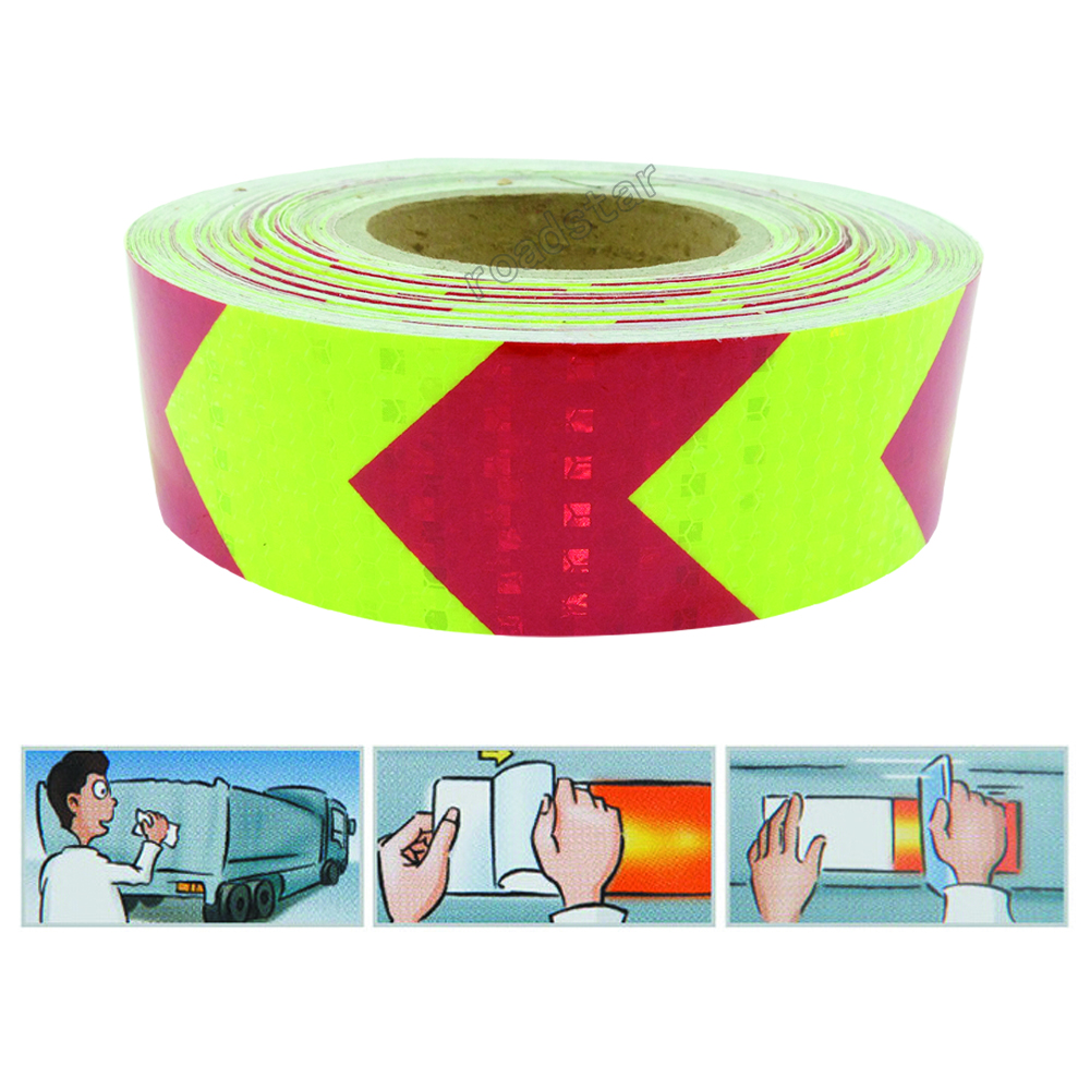 50mmx1M Yellow Red Arrow PET Reflective Tape Reflective Safety Warning Tape Good Viscous Waterproof Long Service Life