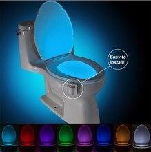 مصباح LED ليلي لمقعد المرحاض بمستشعر PIR ذكي مزود بـ 8 ألوان إضاءة متغيرة مصباح LED حساس الحركة المنشط