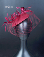 2019 Wine felt fascinator satin loops veiling hat Kentucky Derby wedding races bridal shower mother of the bride w/feather