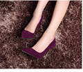Top quality genuine leather pointed toe stilettos high heels suede shoes 2015 new fashion women pumps black purple gray