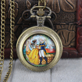 2016 New Design Beauty and the Beast Pocket Watch Necklace Fob Watch With Chain Necklaces Gift