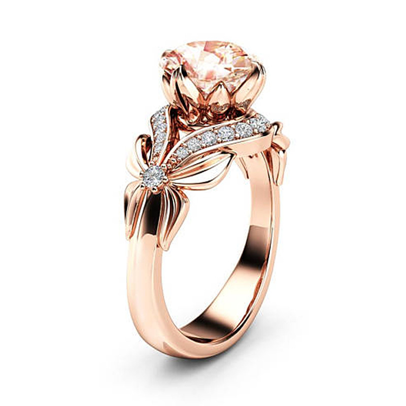 Vintage Diamond 18K Rose Gold Zircon Ring Party Gemstone Wedding Ring For Women Pure Topaz Jewelry Anillos De Bizuteria Gemstone