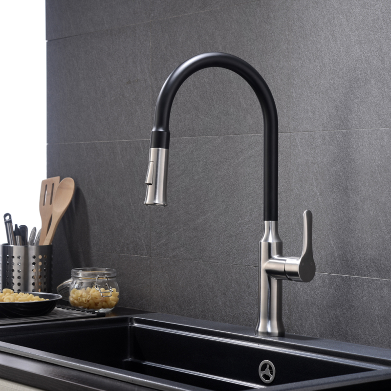 nickel steel spray brushed down stainless shower with pull faucet kitchen sprayer