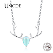 UMODE 2019 New 925 Sterling Silver Antlers Zircon Diamond Pendant Necklaces for Women Link Chian Deer Jewlery ALN0466