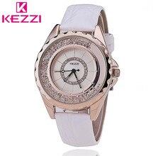 K742 KEZZI Reloj de Las Mujeres Reloj de Cuarzo Correa de Cuero Casual relogio feminino de Japón PC