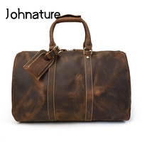 Johnature 2019 New Genuine Leather Large Capacity Vintage Solid Mens Duffle Bag Crazy Horse Leather Travel Bags Hand Luggage
