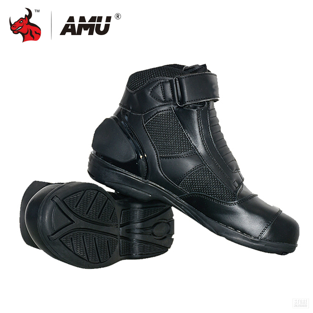 AMU Motorcycle Boots Men Motocross Off-Road Racing Ankle Boots Motorcycle Riding Boots Street Riding Shoes Protective Gear motorcycle riding shoes men s waterproof spring anti falling knights boots cross country racing shoes road locomotive boots
