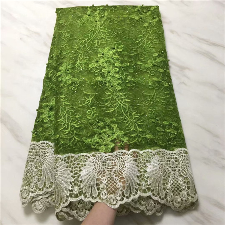 Unique Design Beaded Embroidered African Net Lace Fabric With stone New Nigerian Guipure Lace For Lady