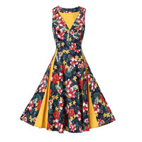 Sisjuly Women Summer Yellow Dress Mid Calf Floral Print Dresses V Neck Polyster A Line Sleeveless