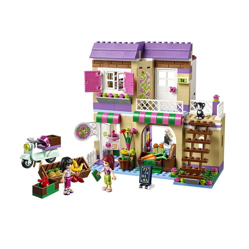 BELA 10495 Building Block Compatible with Legoe Friends Heartlake Food Market 41108 Figure Model Educational Toys for Children sluban 0372 block compatible legoe aviation city aircraft repair shop model 596pcs educational building toys for children