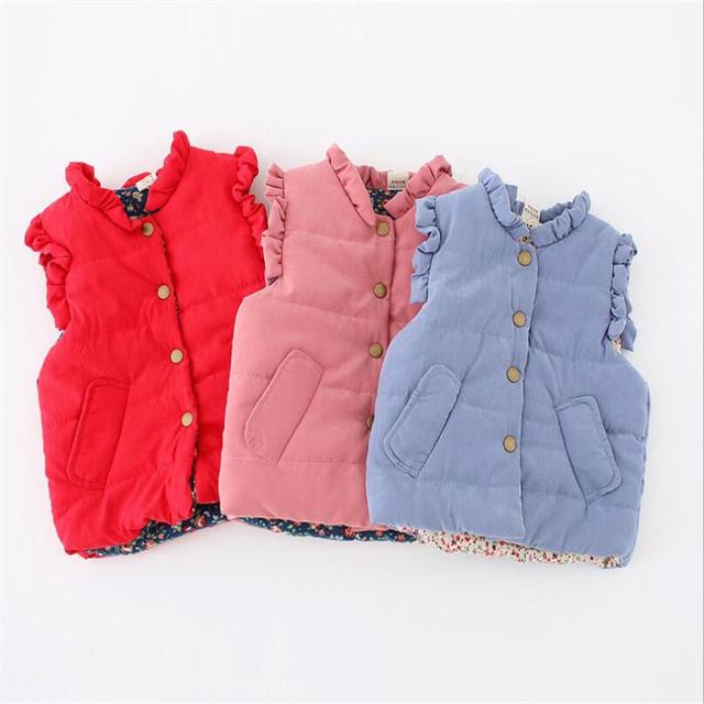 2016 simples moda cores sólidas infantil criança coletes coletes à prova de bebê projeto da menina para o outono inverno roupas quentes