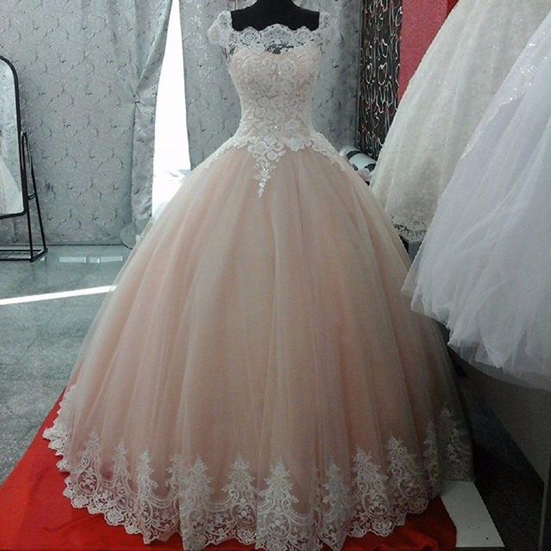 Centros De Mesa Para 15 Años Sencillos Gorgeous Sheer Ball Gown Wedding Dresses 2017 Puffy Lace