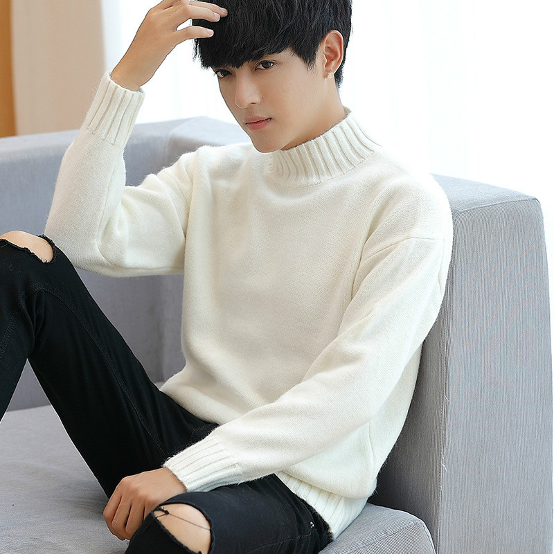 Boys White Oversized Sweaters Korean Cute Sweater Plus Size Turtleneck Men Ribbed Top Long Sleeve Thick Pullover Male Knitwear