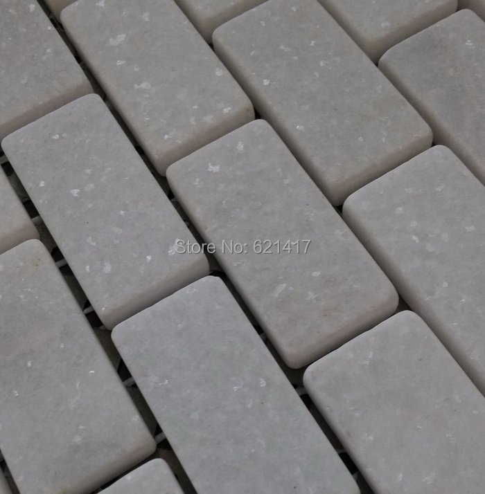Wall Tiles Natural Jazz 23x48mm Strip Pattern White Marble Stone