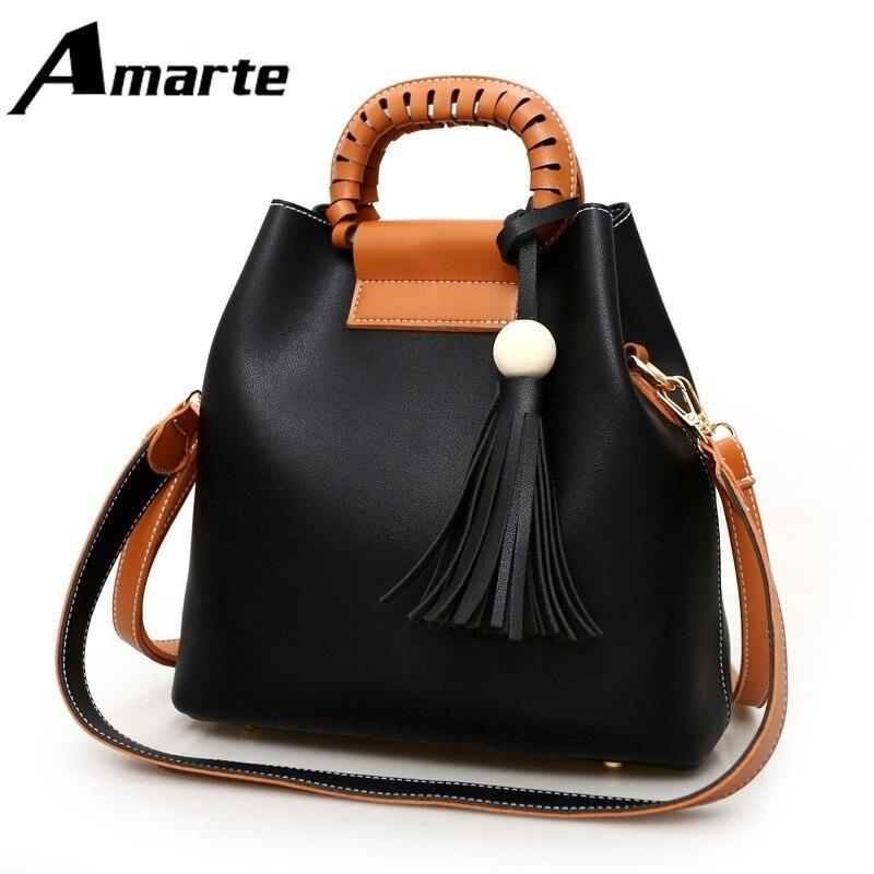 Amarte 2019New Women Handbag PU Leather Crossbody Bags Tas Fashion High Quality Female Messenger Bag