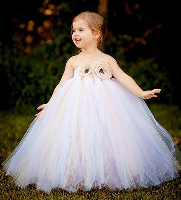 Beautiful Girls White Tutu Dress Kids Fluffy Crochet Long