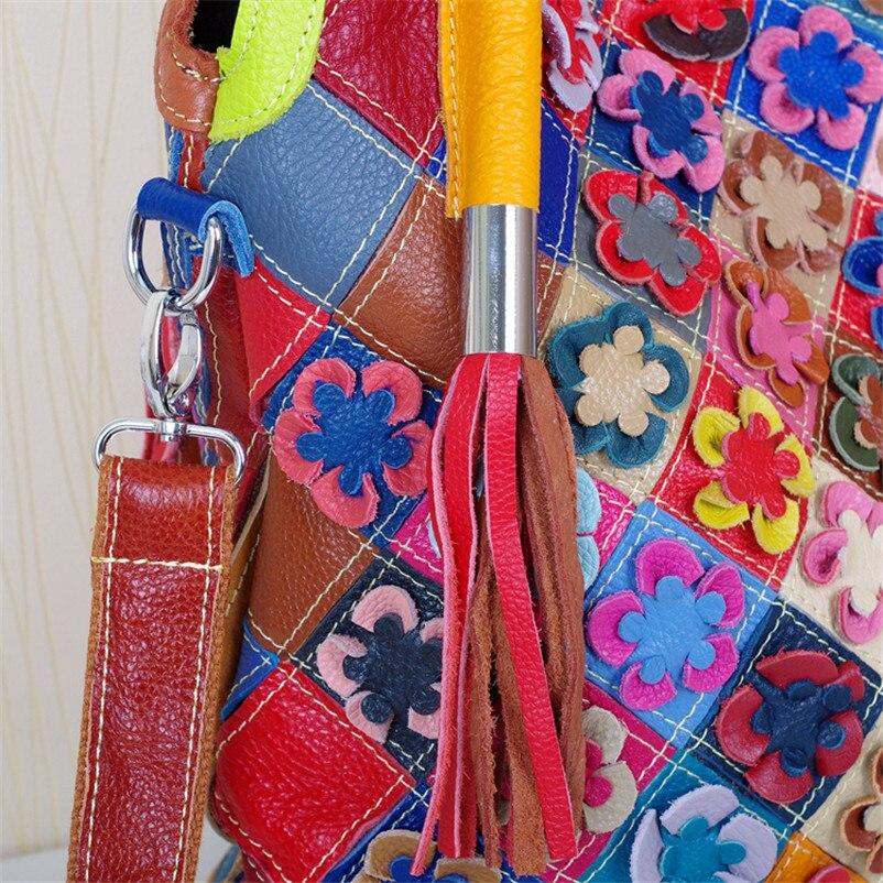 Caerlif Irregolare Stile Delle Donne Delle Borse Messenger Bag Patchwork Colorful Grande Borsa nappa borsa Sacchetti di Cuoio Genuini per le donne-in Borse a tracolla da Valigie e borse su  Gruppo 3