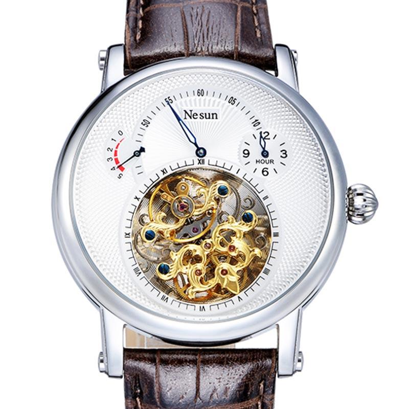 Швейцария Элитный бренд nesun полые Tourbillon часы Для мужчин автоматические механические Мужские часы сапфир Водонепроницаемый часы n9081-4