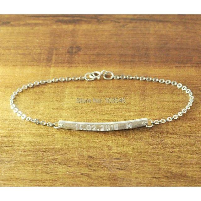 Personalized Bar Bracelet Hand Stamped, Customized Name Jewelry, Engraved Bracelet, Nameplate Bracelet, Memorial bangle
