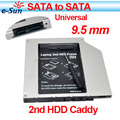 2nd HDD Caddy 9.5mm/ 2.5'' universal Aluminum SATA-SATA Ultrathin slim hdd adapter  Wholesale 10pieces/lot cheap best