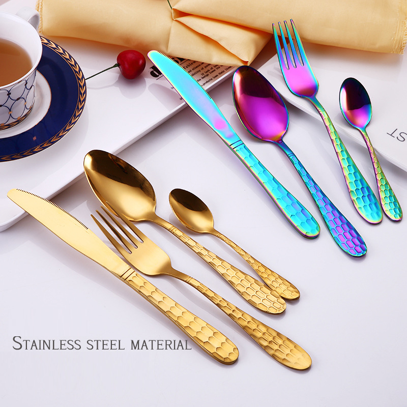 24 Pcs set Stainless Steel Black Cutlery Sets Golden Knives Forks Tablespoon Inox Gold Dinnerware 24