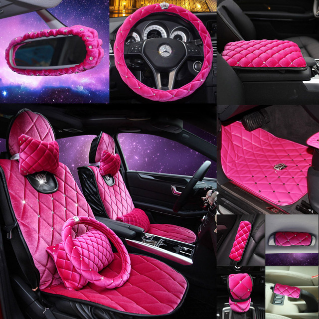 Diamonds Girls Al Set Interior Accessories Car Seat Cover Car Steer Wheel Cove Headrest Pillow