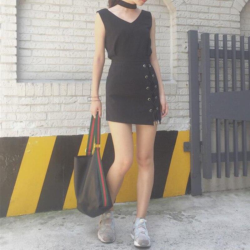 HTB1s5TXOFXXXXbEaXXXq6xXFXXXL - Women Black Mini Skirts Lace up PTC 39