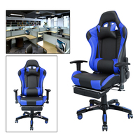 Height 135.5cm Black Blue Reclining Racing Gaming Office Chair executive Swivel Chair