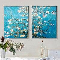 Картины Ван Гога, цветок холст масло painting2 шт Ручная роспись воспроизведение Ван goghwall фотографии для гостиной Wall Art