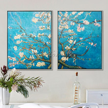 Van Gogh painting,Canvas flower oil painting2 pieces Hand painted reproduction of Van GoghWall Pictures for Living room wall art van eyck masters of art