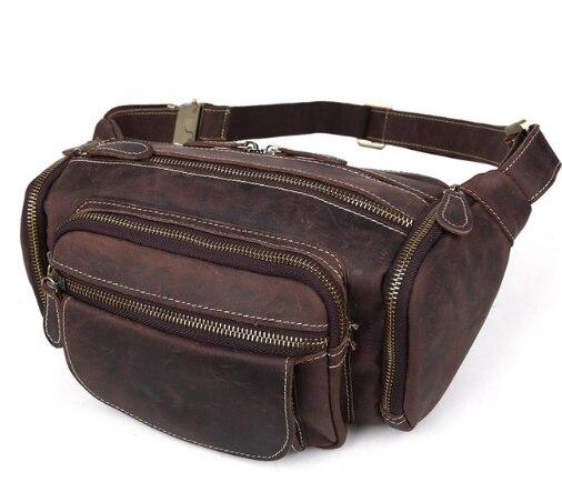 male Crazy Horse Genuine Leather bag belt men Vintage Waist bag fanny Pack Men s Large