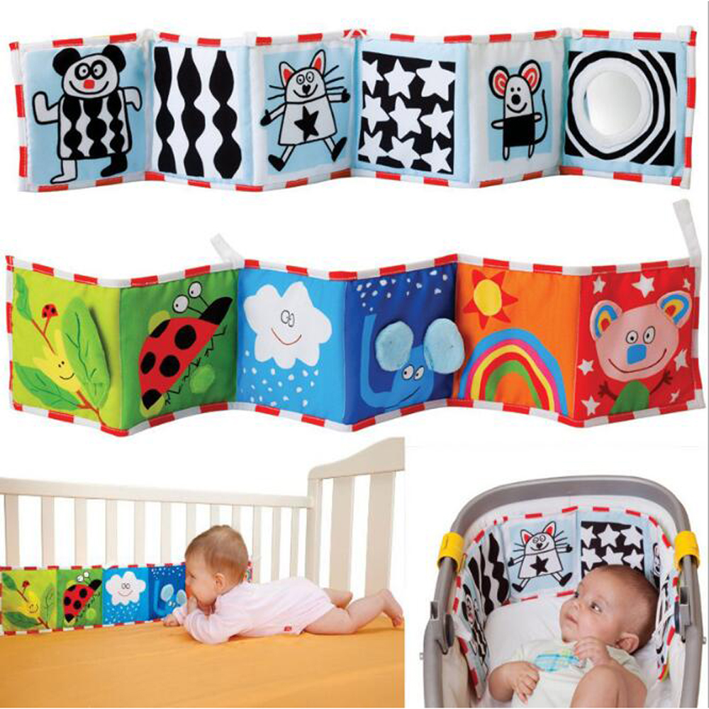 BOLAFYNIA Baby Infant Cloth Book Double-sided Black And White Color Bedside Cloth Book Children Educational Toys