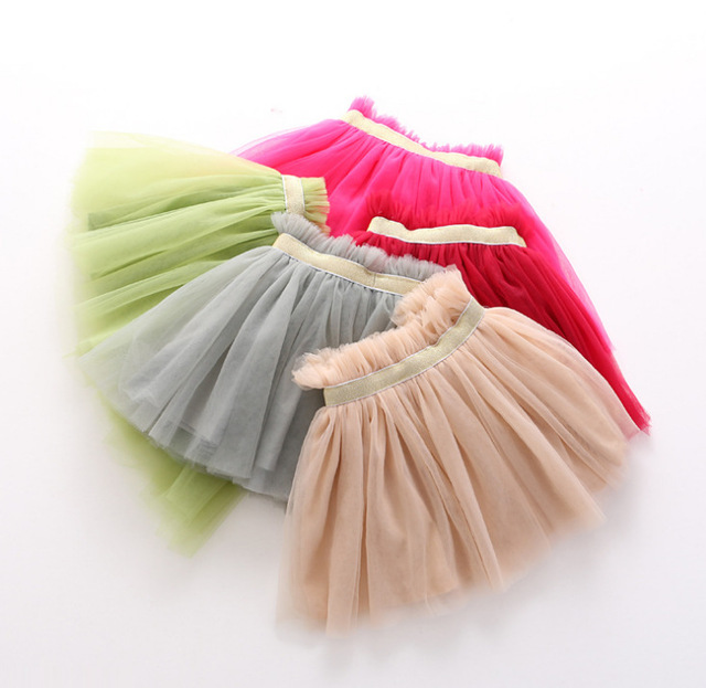 Новое прибытие Конфеты цвет Девушка Юбки весна дети детские Эластичный Пояс марля юбка Корейских детей принцесса Тюль юбки