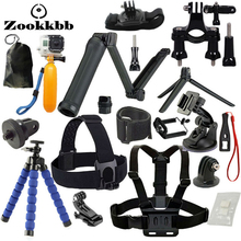 Zookkbb for GoPro Accessories with 3 Way monopod grip mount chest harness for go pro hero 4 5 3 2 sjcam sj4000 action camera
