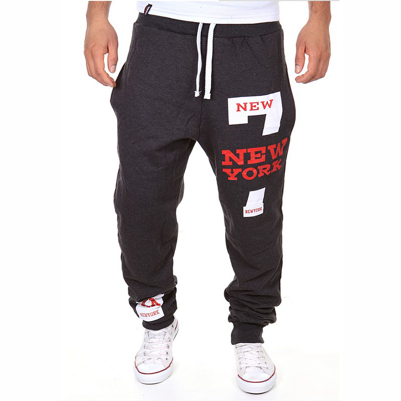 2017 New Spring Men Pants Haren Mens Joggers Men Casual Long Pants Straight Sweat Pants Letter New York Printed Sweatpants
