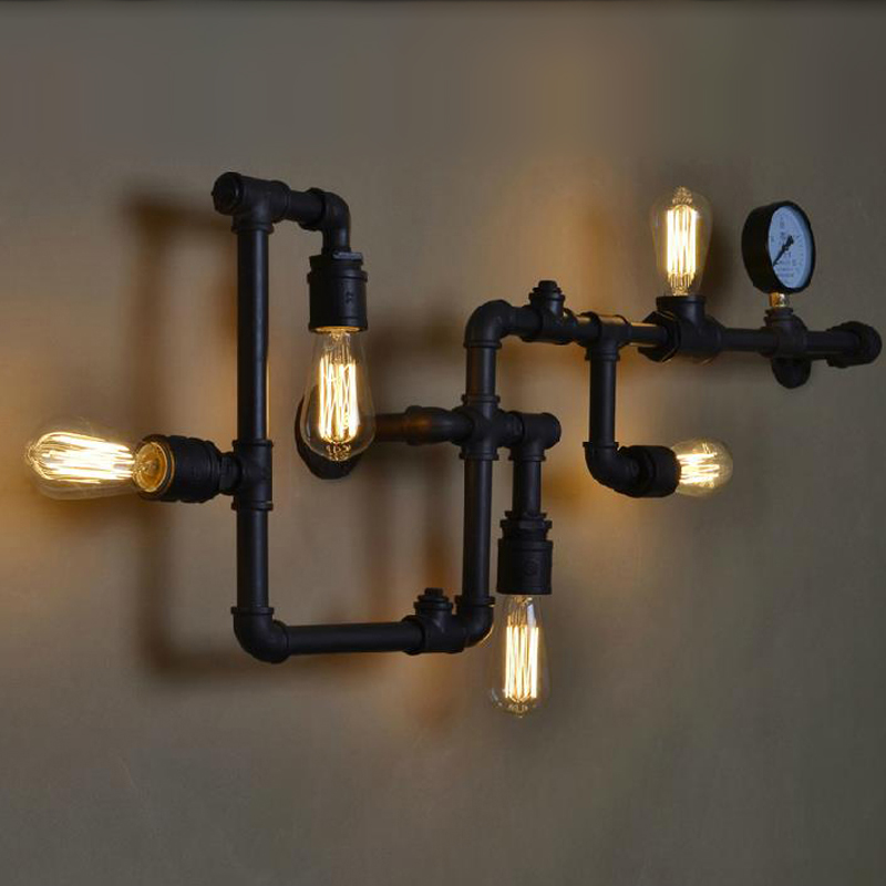 Loft Vintage Water Pipe Wall Lamp 5 Lights Bar Restaurant RH Iron Industrial Style E26 E27 Edison Bulbs Retro Wall Sconce Lamp 1 heads american industrial vintage loft style creative personality iron water pipe restaurant retro wall lamp free shipping