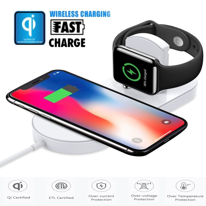 QI Wireless Charger for Apple Watch 2 in 1 Fast Charging