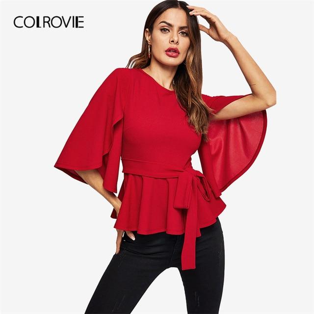 COLROVIE Red Solid Half Split Sleeve Belted Peplum Elegant Blouse Women 2019 Spring Korean Zipper Casual Shirts Ladies Tops