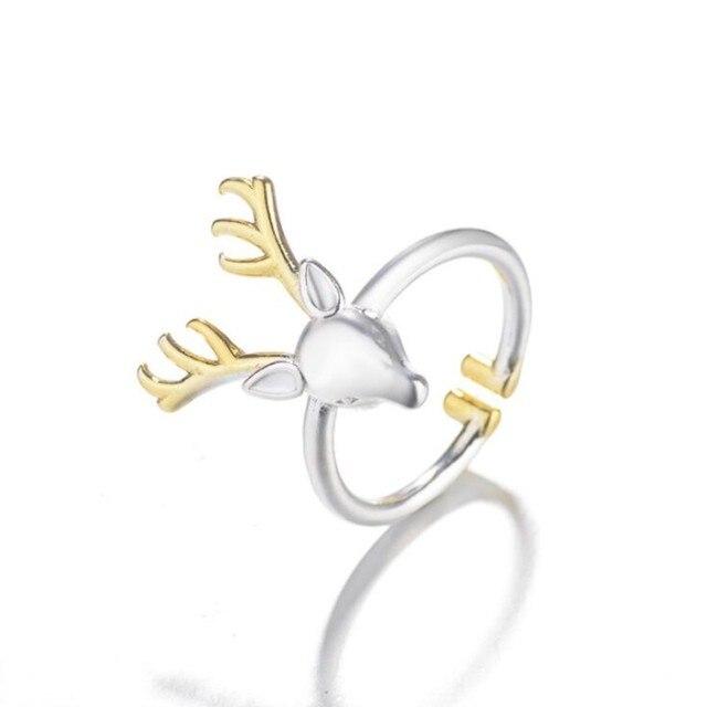 Женское кольцо из серебра 925 пробы с оленем и Рогами