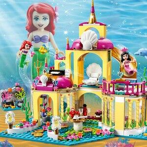 Princesse Ariel blocs de construction Action Elsa figurines Lepining amis maison hôtel heart lake hôpital ville jouets pour enfants filles(China)