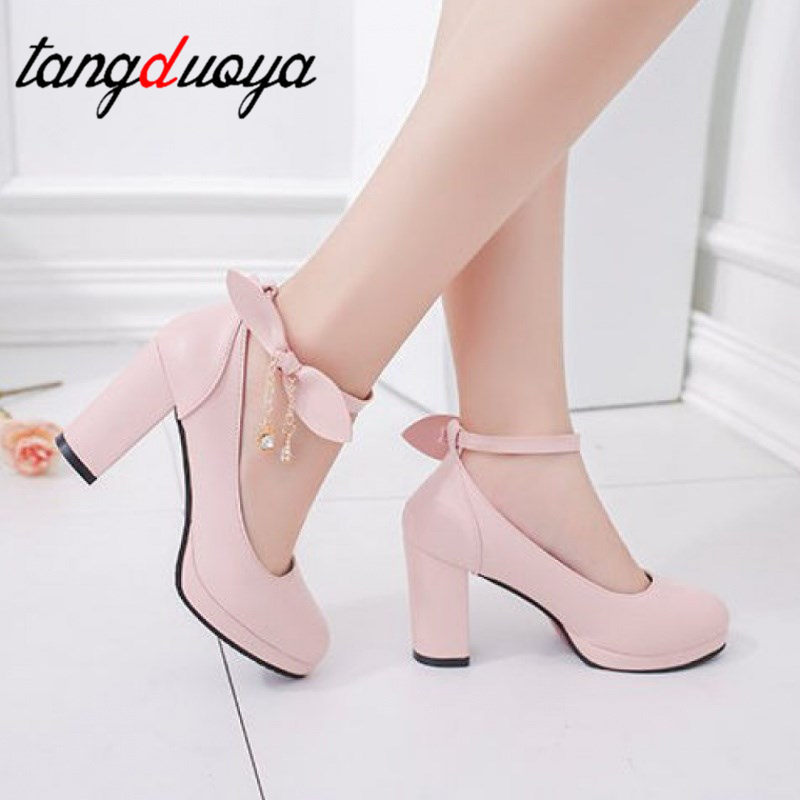 Japanese Shoes Beige Med-Heels Female Lolita New COS Pink Thick Sweet Crust Tide