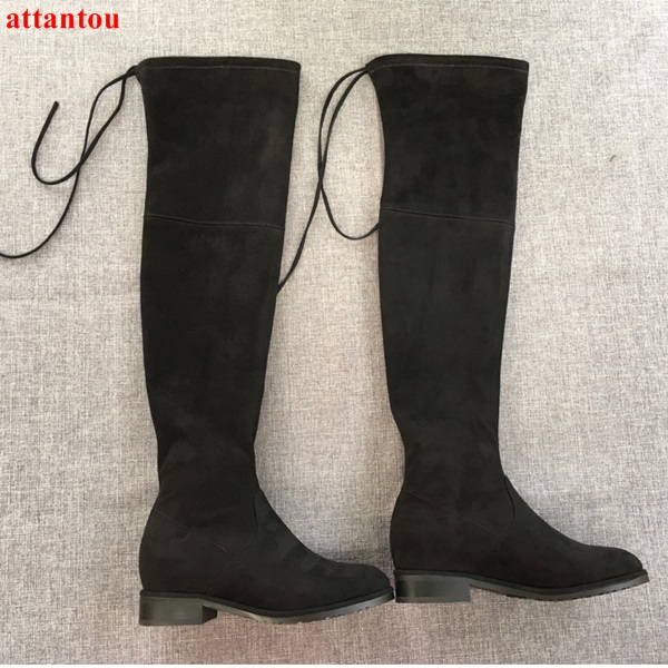 2017 woman long boots suede leather street fashion concise design drawstring over-the-knee boots autumn winter female shoes