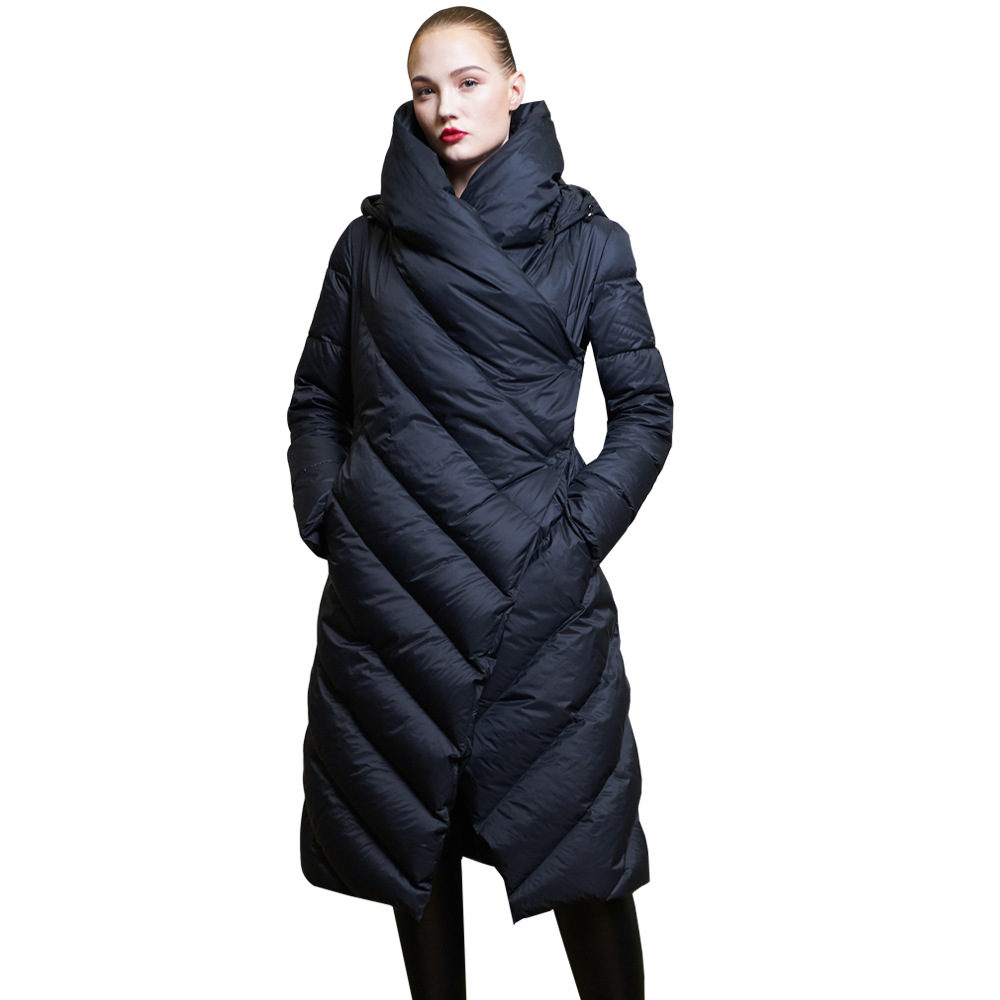 High Quality 2019 Winter New Collection Women Hooded Long   Down     Coat   Female Winter Warm Thick   Down   Jacket Female Overcoat