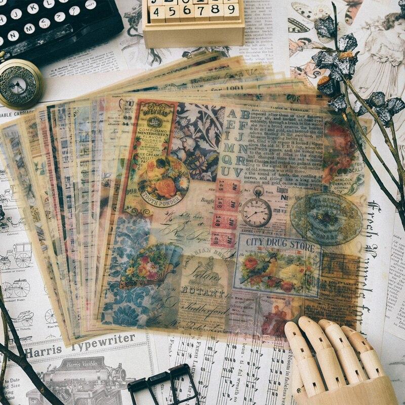 KLJUYP Motif Vintage Vélin Papier Pour Scrapbooking Heureux Planificateur/Fabrication De Cartes/Journalisation Projet